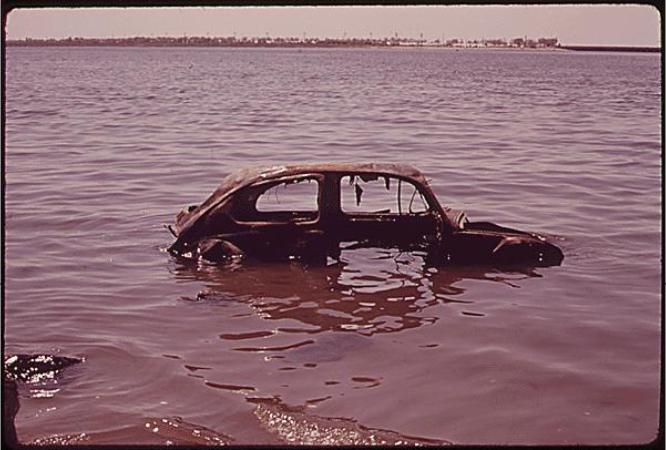 Abandoned Car in Jamaica Bay 06/1973