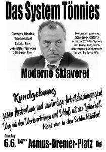 Kundgebung in Kiel gegen das System Tönnies